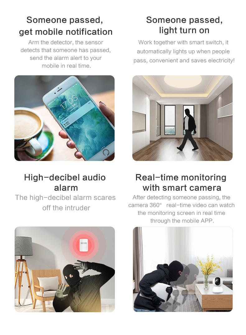 Enerna IoTech Mobile Notification High Desible Audio Alarm with Camera Real-time Monitoring