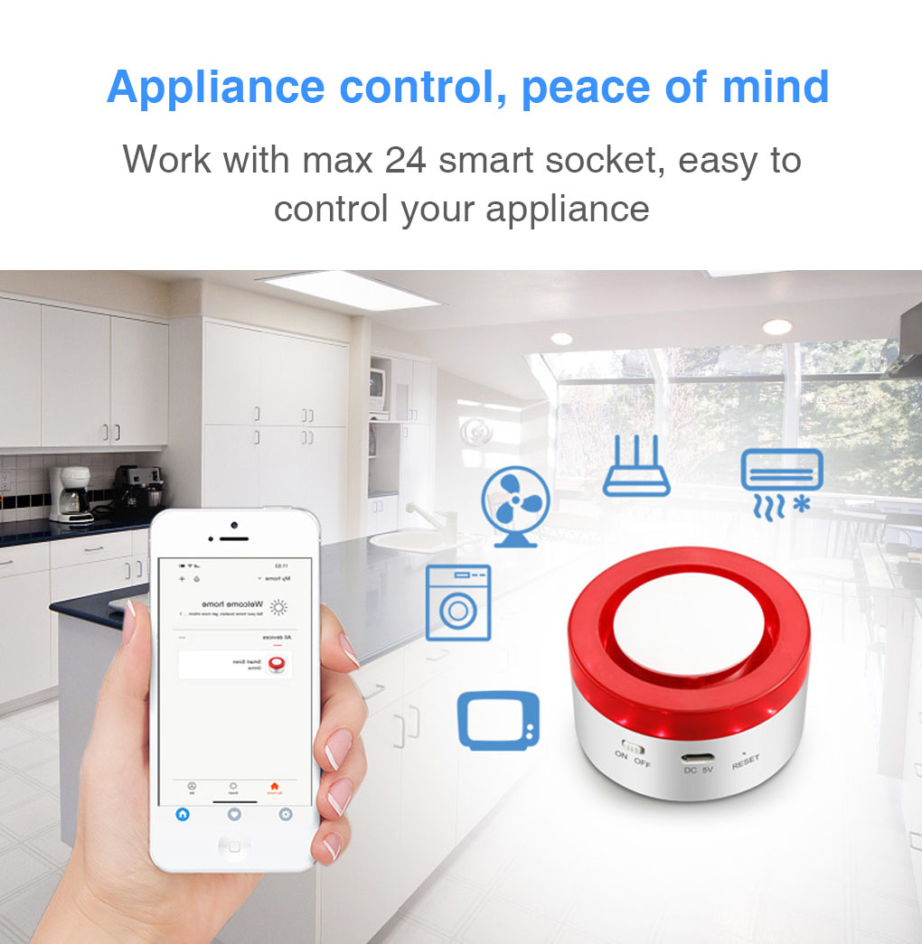 Enerena IoTech 2 in 1 WiFi Smart Automation Home Security Siren Alarm IoT Gateway