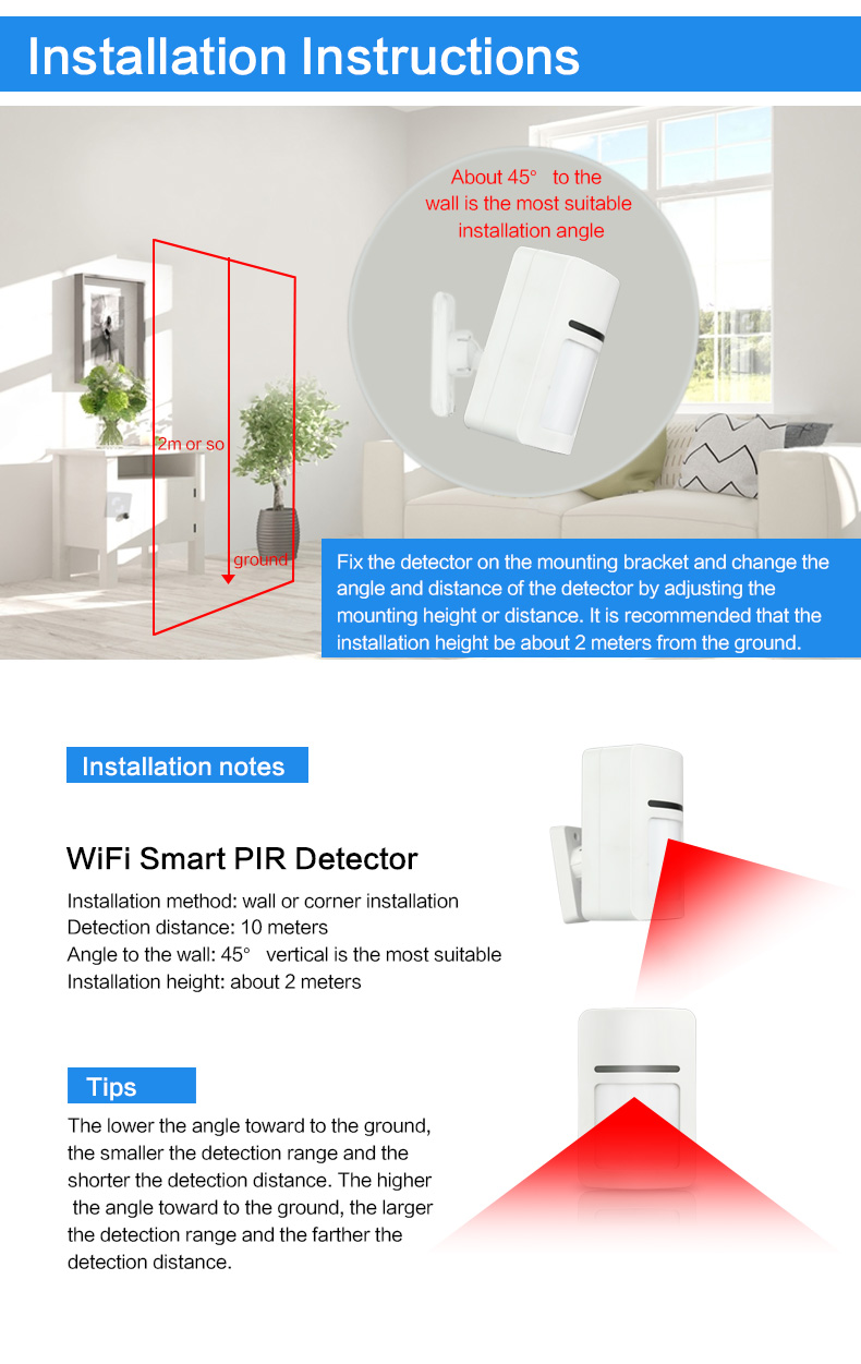Enerna IoTech WiFi Smart Home Security Wireless PIR Motion Alarm Easy Installation
