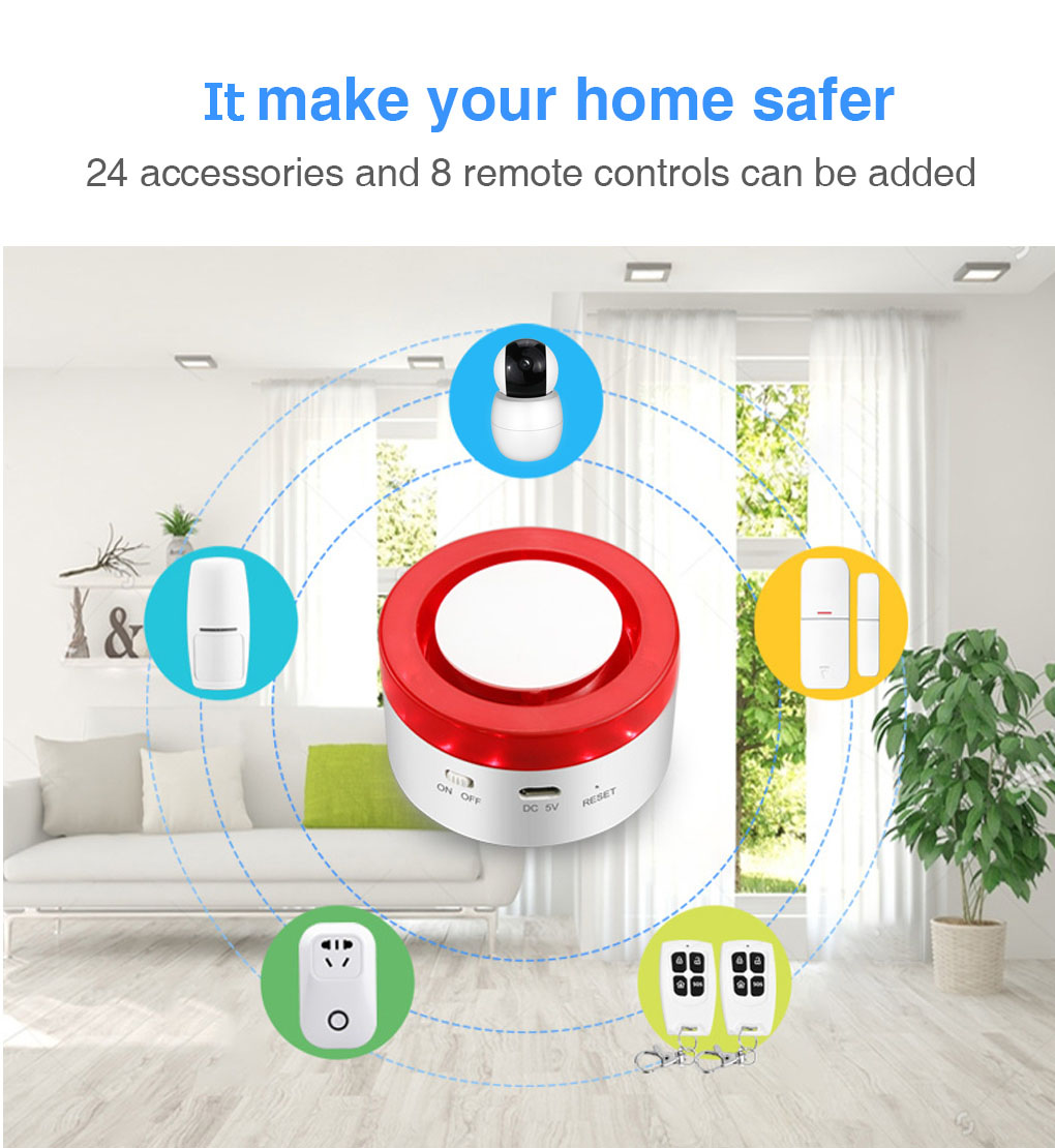 Enerna IoTech 2 in 1 WiFi Smart Automation Home Security Siren Alarm IoT Gateway