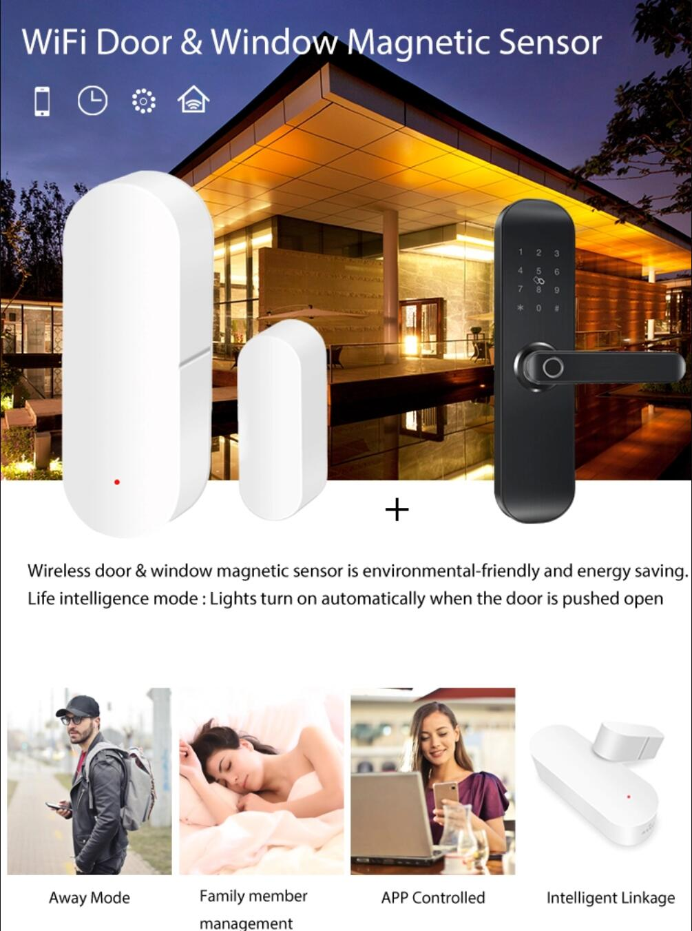 Enerna IoTech alexa Tuya smart home white WIFI door sensor window door open close alarm