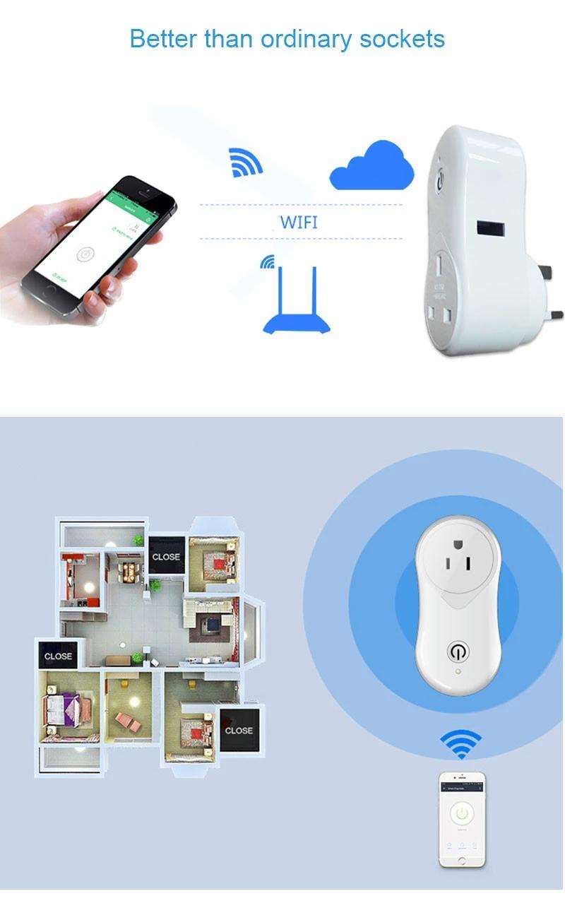 Enerna IoTech Tuya Wireless WIFI Control Smart Home Mini Socket Plug with USB Port Supports Alexa and Google Home