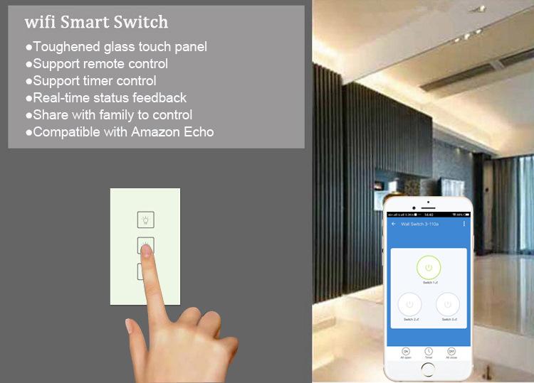 Enerna IoTech WiFi Smart Home 3 Gang Glass Panel Wall Touch Switch