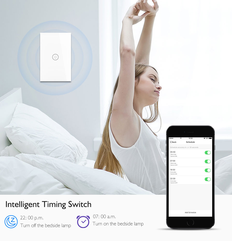Enerna IoTech WiFi Smart Light Amazon Alexa Google Home Wall Touch Switch