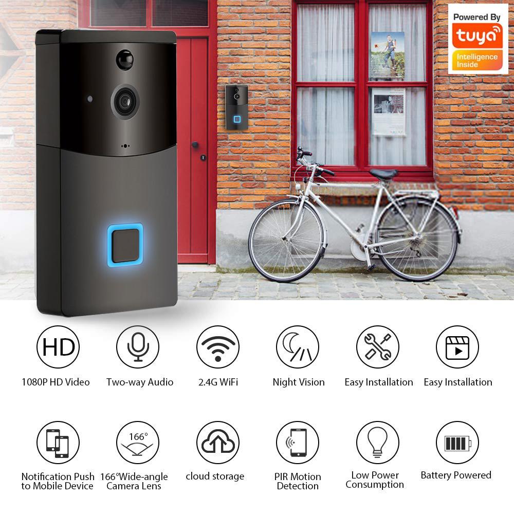 Enerna IoTech 1080P HD alarm wireless doorbell with IR night vision wifi video doorbell