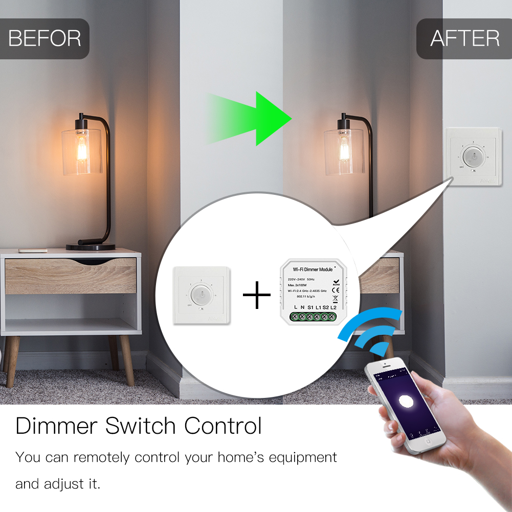 Enerna IoTech DIY Smart WiFi Light LED Dimmer Switch Smart LifeTuya APP Remote Control 12 Way Switch,Works with Alexa Google Home