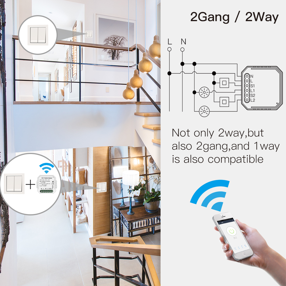 Enerna IoTech Google Assistant Alexa Voice Control TUYA APP Remote Control Smart WiFi Switch Module