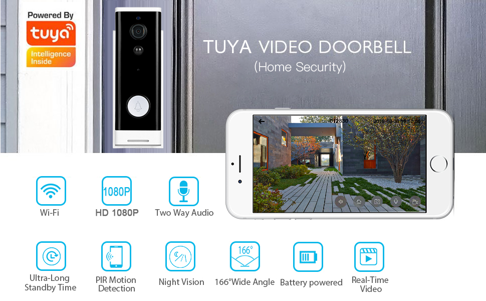 Enerna IoTech Smart Wifi Doorbell Camera Ring Door Bell Tuya Smart Life App Intercom PIR Motion Detector Night Vision Security Video Camera