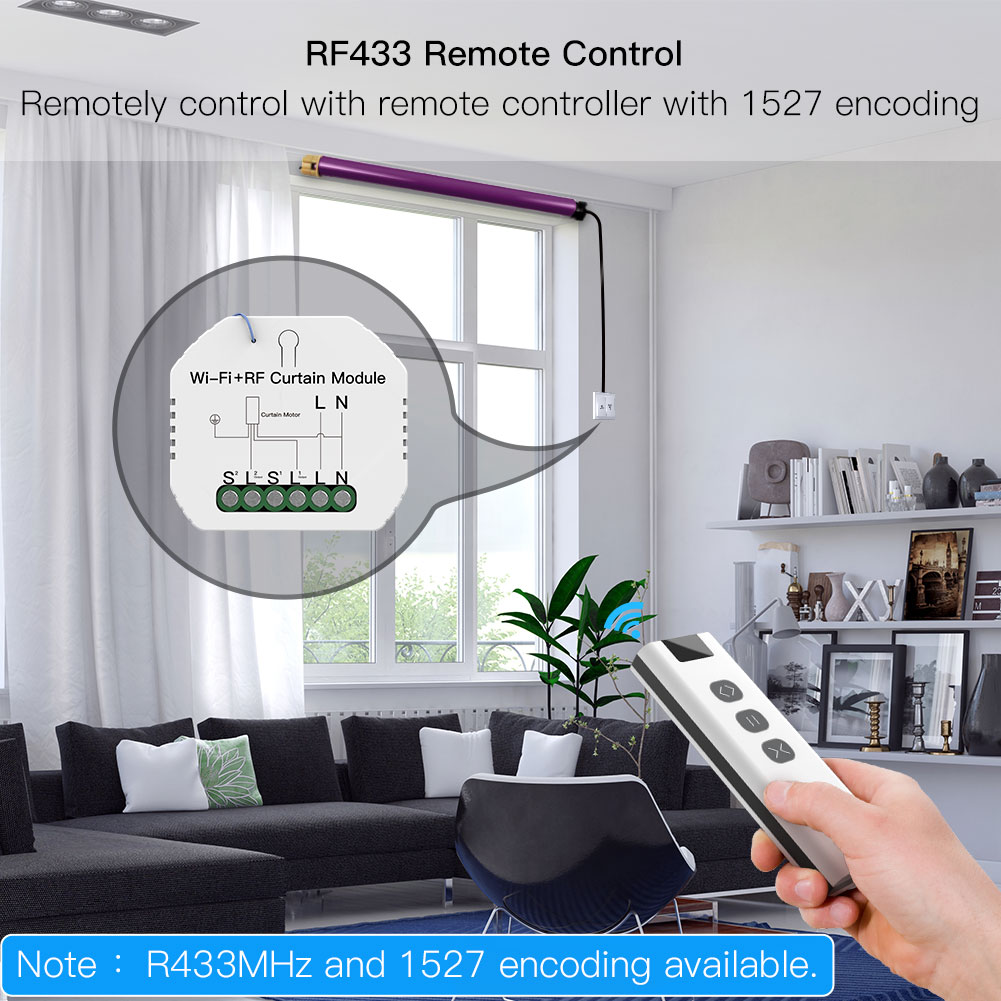 Enerna IoTech Smart Wifi RF Module Switches Controlled Curtain