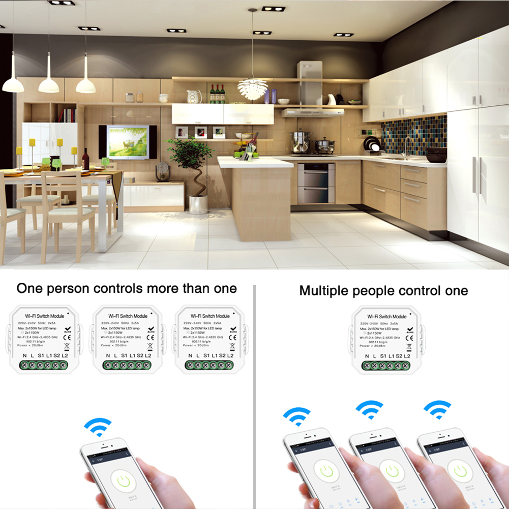Enerna IoTech Smart Wifi Switch DIY Remote Control Wireless Wifi Light Switch work with Alexa