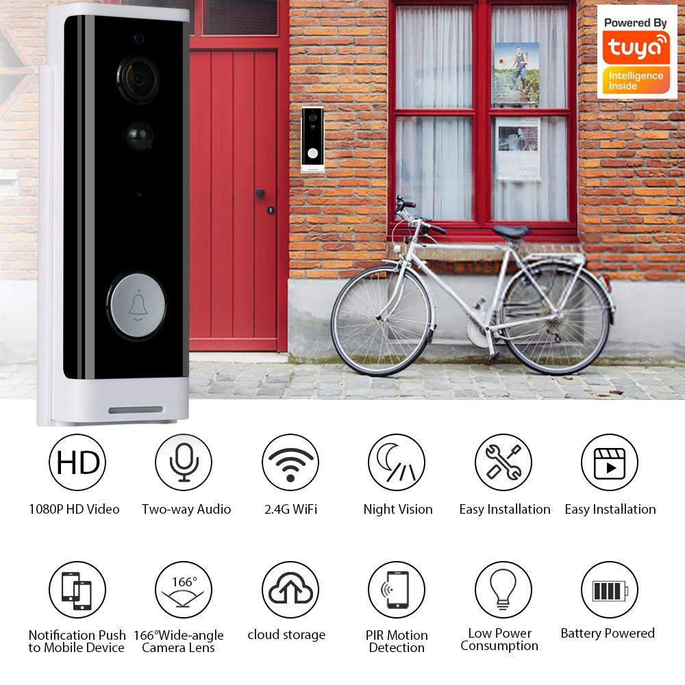 Enerna IoTech Tuya smart Home Security Motion Detection Wireless WiFi Smart Visual wireless Video Doorbell
