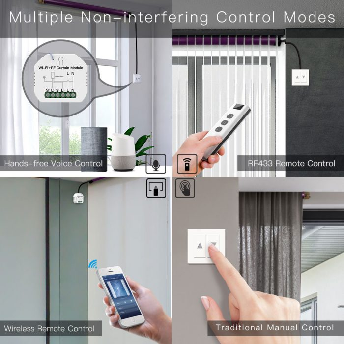 Enerna IoTech WiFi Mini DIY Smart Curtain Switch Module for Electric Motorized Roller Blinds Shutter Motor Smart LifeTuya APP Remote Control