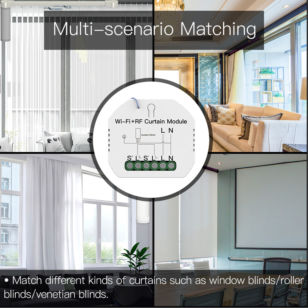 Enerna IoTech WiFi+RF433 Mini Smart Curtain Switch Module for Roller Blinds Shutter Motor Smart LifeTuya APP