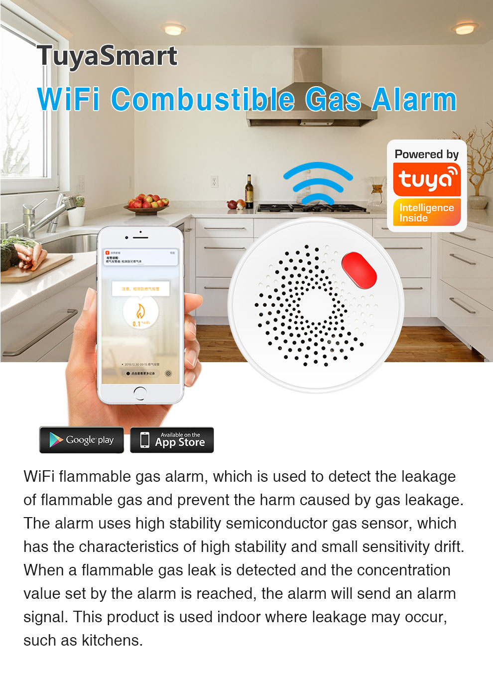 Enerna IoTech WiFi Smart Combustible Gas Leakage Alarm