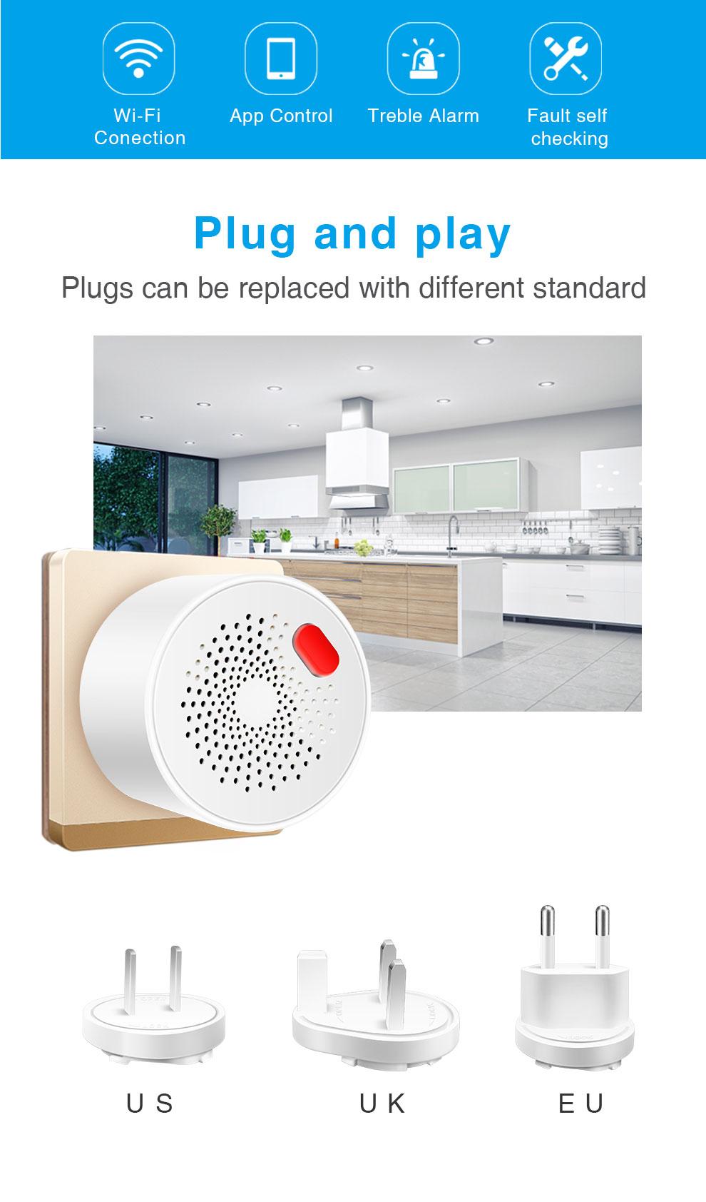Enerna IoTech WiFi Wireless Smart Household Combustible Gas Alarm Detector