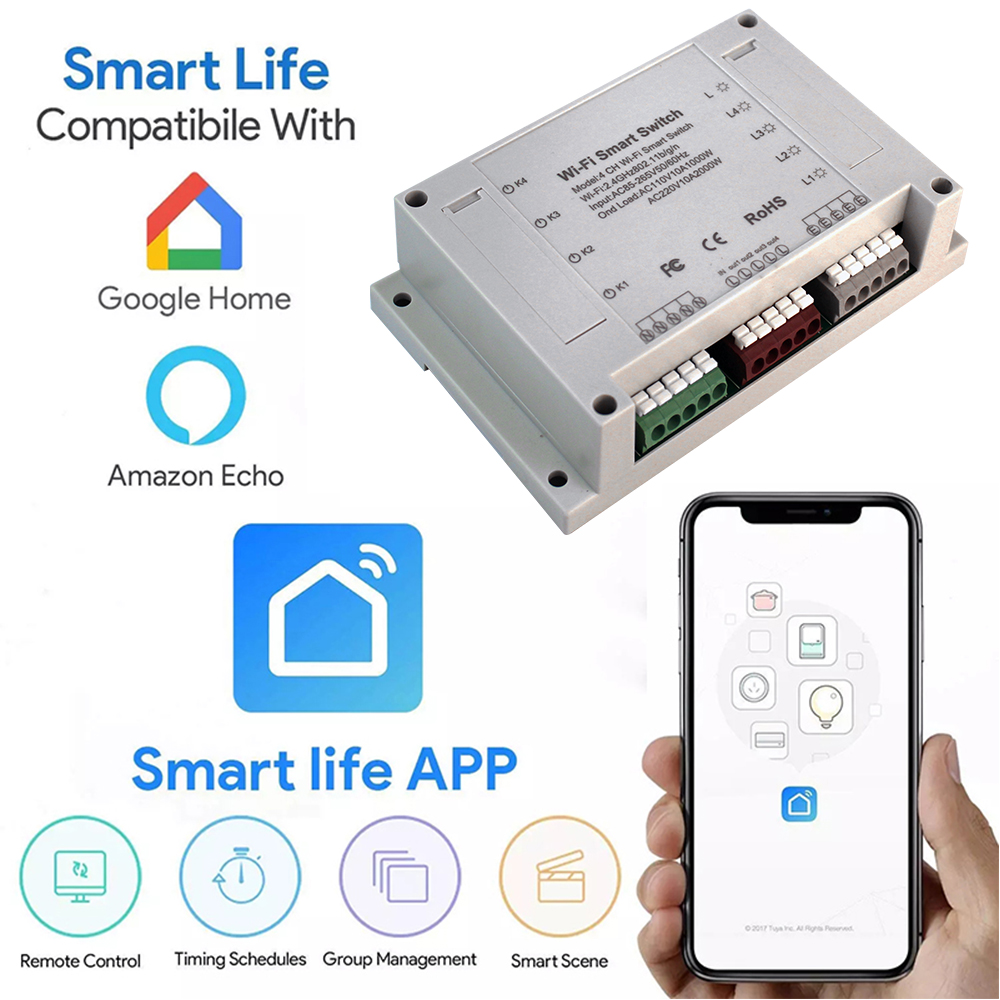 Enerna IoTech 4 Channels Wifi Remote Control Smart Switch