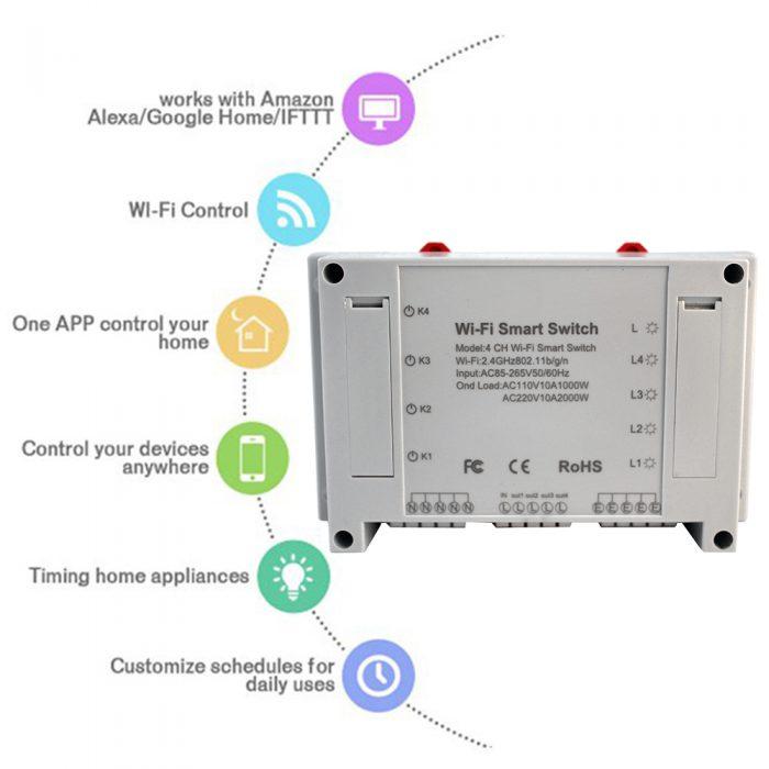 Enerna IoTech 4 Channels Wifi Remote Control Smart Switch