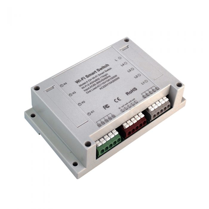 Enerna IoTech 4CH Smart WiFi Switch 4-Gang Din Rail Mounting on off Controller
