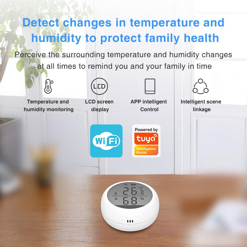 Enerna IoTech LCD Display WiFi Smart Home High Accuracy Temperature Humidity Alarm Sensor