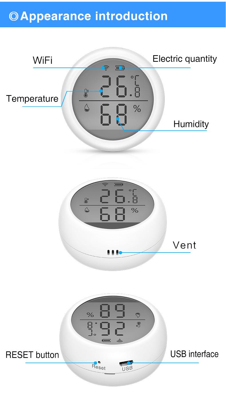 Enerna IoTech Digital Display Smart Home Tuya WiFi High Accuracy Temperature Humidity Sensor