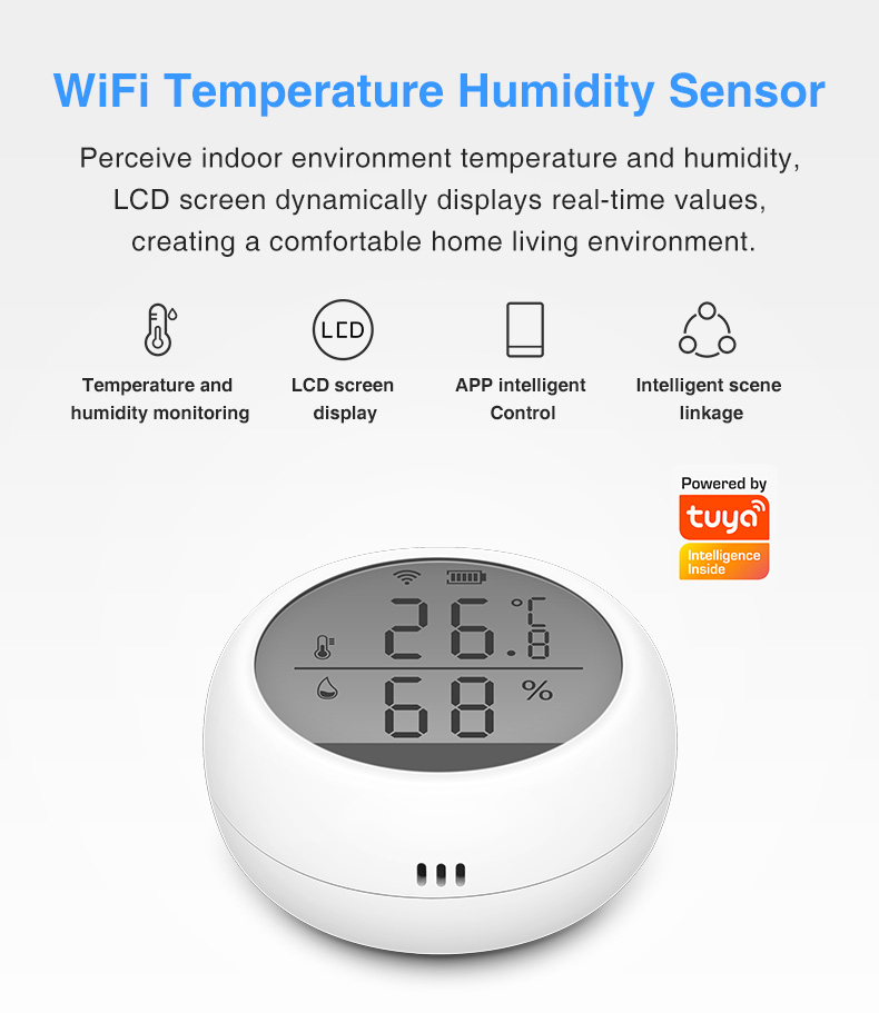 Enerna IoTech LCD display TUYA WIFI smart digital remote temperature humidity sensor
