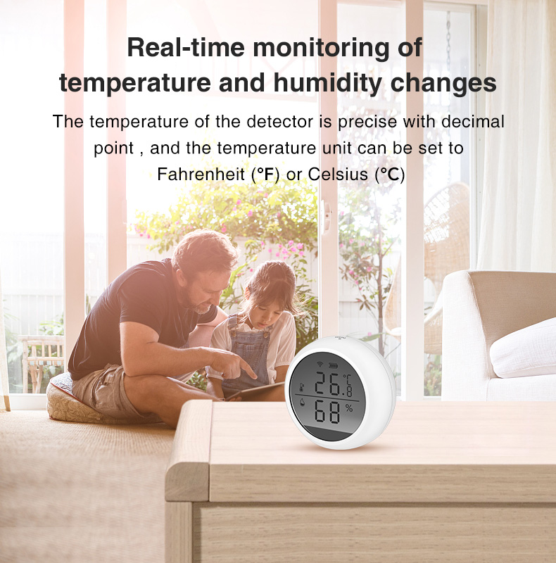 Enerna IoTech Tuya wifi intelligent digital display smart WIFI temperature and humidity alarm