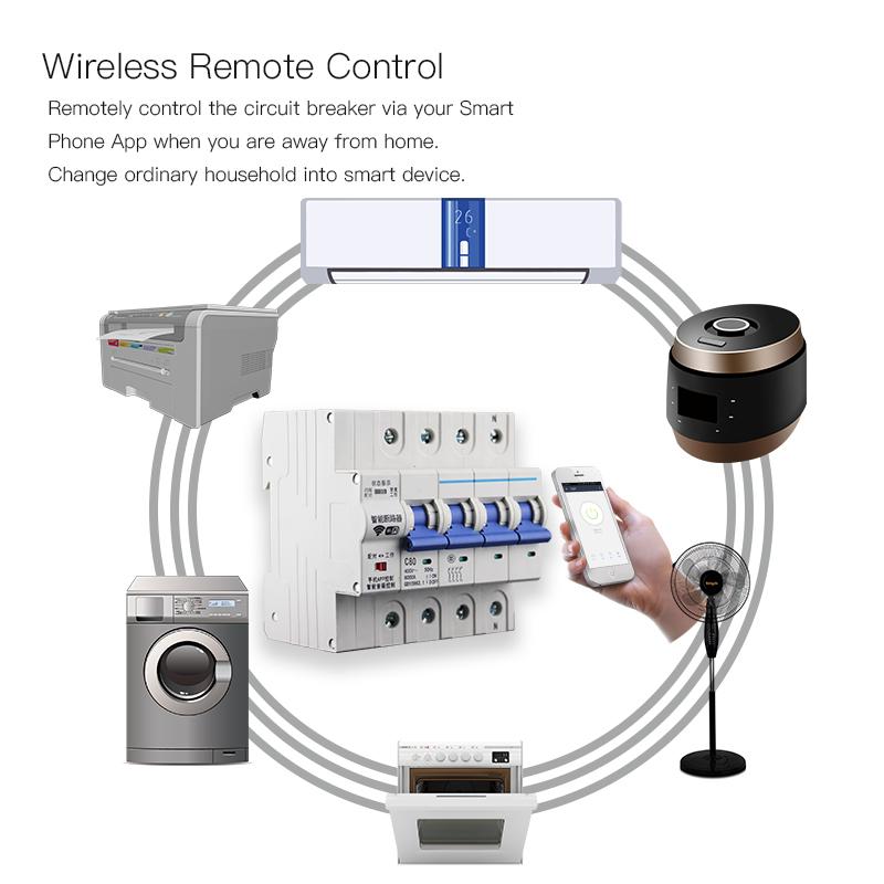 Enerna IoTech 4P WiFi Smart Automation Wireless Remote Control Overload Short Circuit Breaker Switch