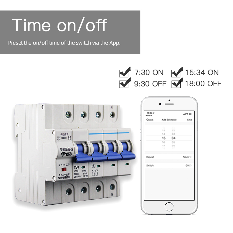 Enerna IoTech 4P WiFi Smart Building Automation Wireless Overload Circuit Breaker Switch