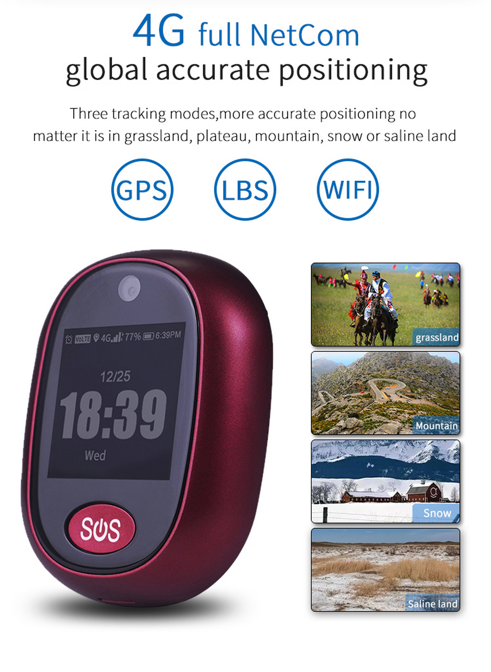 Enerna IoTech Loud Voice 4G GPS Tracker Senior Waterproof SOS Locator Alarm Mini Long Battery 4G GPS Tracking Device with Camera for Personal